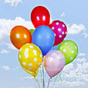 Colorful Balloons With Blue Sky Print by Elena Elisseeva
