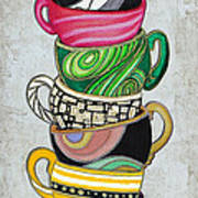 Colorful Coffee Cups Mugs Hot Cuppa Stacked II By Romi And Megan Print by Megan Duncanson