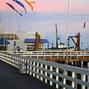 Colorful Flags And Wharf Print by Debra Thompson