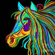 Colorful Horse Head 2 Print by Nick Gustafson
