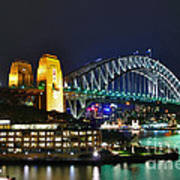 Colorful Sydney Harbour Bridge By Night Print by Kaye Menner