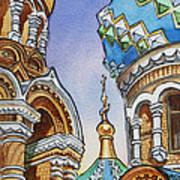 Colors Of Russia St Petersburg Cathedral II Print by Irina Sztukowski