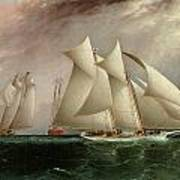 Columbia Leading Dauntless In The Hurricane Cup Race Print by James E Buttersworth