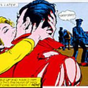 Comic Strip Kiss Print by MGL Studio