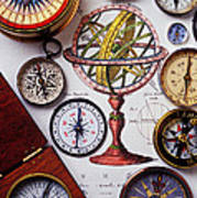Compasses And Globe Illustration Print by Garry Gay