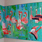 Corner Flamingos Print by Vicky Tarcau