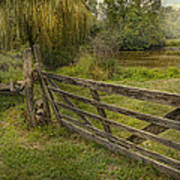 Country - Gate - Rural Simplicity  Print by Mike Savad