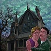 Couple Outside Haunted House Print by Martin Davey