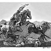 Cowboys And Longhorns Print by Jack Pumphrey