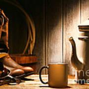 Cowboy's Coffee Break Print by Olivier Le Queinec