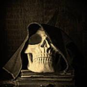 Creepy Hooded Skull Print by Edward Fielding