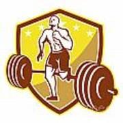Crossfit Athlete Runner Barbell Shield Retro Print by Aloysius Patrimonio