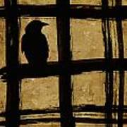 Crow And Golden Light Number 1 Print by Carol Leigh