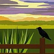Crow In The Corn Field Print by Val Arie