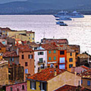 Cruise Ships At St.tropez Print by Elena Elisseeva