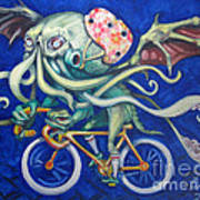Cthulhu On A Bicycle Print by Ellen Marcus
