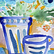 Cups And Flowers-  Watercolor Floral Painting Print by Linda Woods
