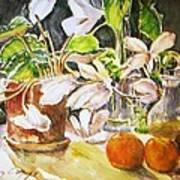 Cyclamen With Tangerines And Kiwi Print by Vivian  Castillo M