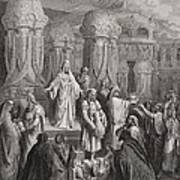 Cyrus Restoring The Vessels Of The Temple Print by Gustave Dore