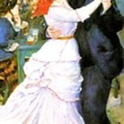 Dance At Bougival Print by Pierre Auguste Renoir