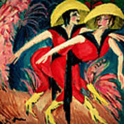 Dancers In Red Print by Ernst Ludwig Kirchner