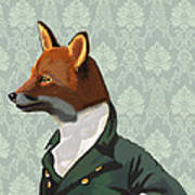 Dandy Fox Portrait Print by Kelly McLaughlan