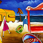 Day At The Beach Print by William Cain