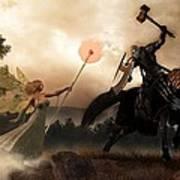 Death Knight And Fairy Queen Print by Daniel Eskridge