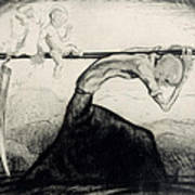 Death With Two Children Carried On His Scythe Print by Michel Fingesten