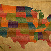 Declaration Of Independence Word Map Of The United States Of America Print by Design Turnpike