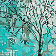 Decorative Abstract Floral Birds Landscape Painting Bird Haven I By Megan Duncanson Print by Megan Duncanson