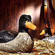 Decoy In Old Hunting Barn Print by Olivier Le Queinec
