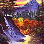 Deep Canyon Falls Print by David Lloyd Glover