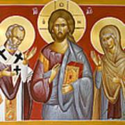 Deisis Jesus Christ St Nicholas And St Paraskevi Print by Julia Bridget Hayes