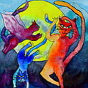 Demon Cats Dance By The Light Of The Moon Print by Beverley Harper Tinsley