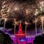 Denver Co 4th Of July Fireworks Print by Teri Virbickis