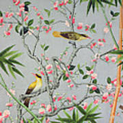 Detail Of The 18th Century Wallpaper In The Drawing Room Photograph Print by John Bethell
