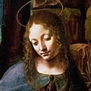 Detail Of The Head Of The Virgin Print by Leonardo Da Vinci