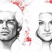 Dexter And Debra Morgan Print by Olga Shvartsur