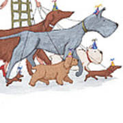 Dog Walker Print by Christy Beckwith
