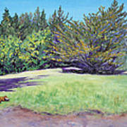 Dog With Bone In Spring Meadow Print by Asha Carolyn Young