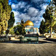 Dome Of The Rock Hdr Print by David Morefield