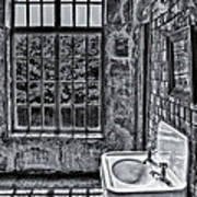 Dormer Bathroom Side View Bw Print by Susan Candelario