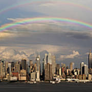 Double Rainbow Over Nyc Print by Susan Candelario