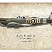 Douglas Bader Spitfire - Map Background Print by Craig Tinder