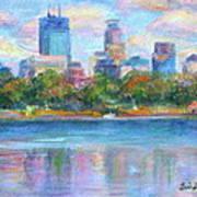 Downtown Minneapolis Skyline From Lake Calhoun Print by Quin Sweetman