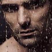 Dramatic Portrait Of Man Face With Water Pouring Over It Print by Oleksiy Maksymenko