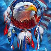 Dream Catcher - Eagle Red White Blue Print by Carol Cavalaris