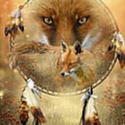 Dream Catcher- Spirit Of The Red Fox Print by Carol Cavalaris