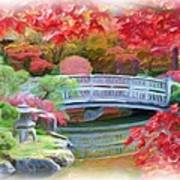 Dreaming Of Fall Bridge In Manito Park Print by Carol Groenen